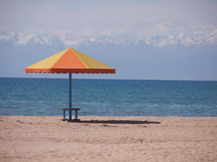 the resort's lake beach