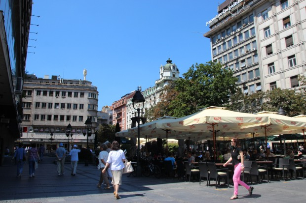 one of the many cafes located in the pedestrian area of downtown Belgrade