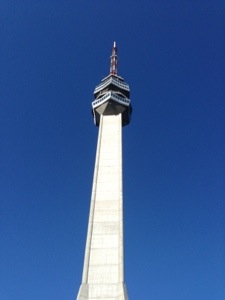 looking up at the Avala Tower