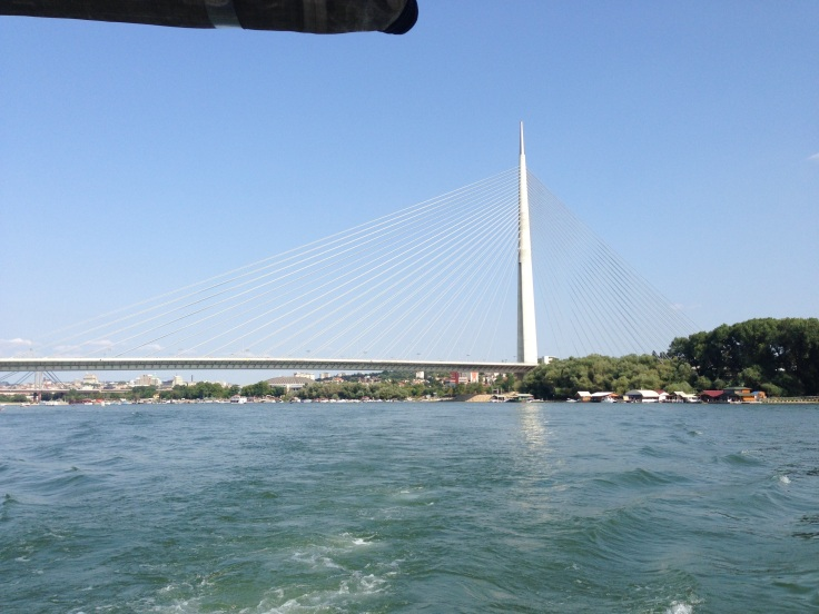 view of the Most na Adi (Ada Bridge), from the boat
