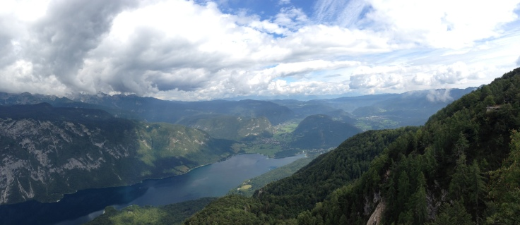 view of Lake Bohinj from the top of the gondola at Vogel