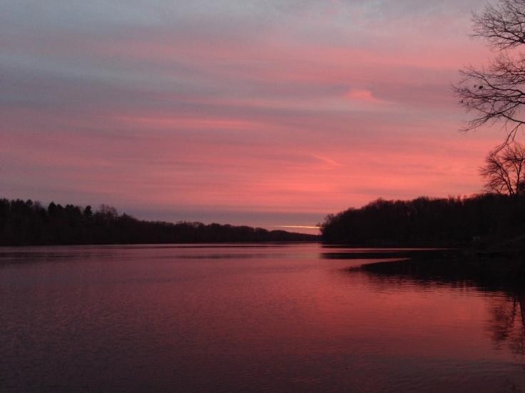carnegie lake sunset