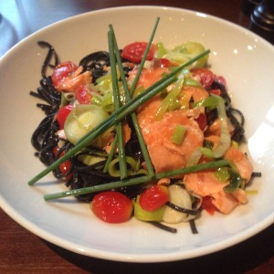 black pasta with salmon